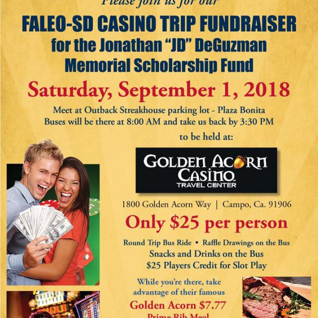 Golden Acorn Casino trip – Sat, Sept. 1st